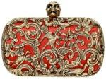 Alexander McQueen's ornate skull clutch red