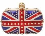 Alexander McQueen Patent Studded Brittania Skull Clutch