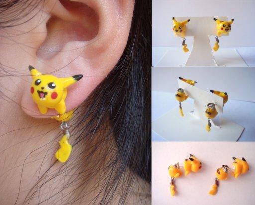 pikachu_clinging_earrings_by_kittyazura-d5gyudz